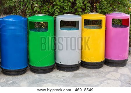 Colorful Garbage Cans For Different Kind Of Garbage