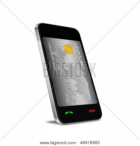 Smartphone With Near Field Communication (nfc) Showing A Credit Card