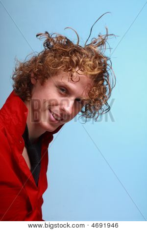 Red Haired Man With Hair Flying