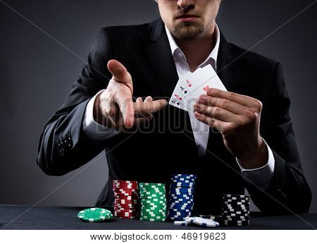 Portrait of a professional poker player