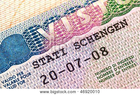 Schengen Visa In Passport. Fragment