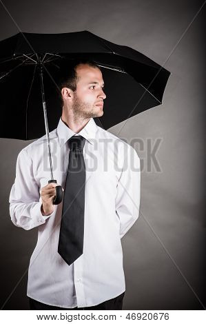 business man with an umbrella