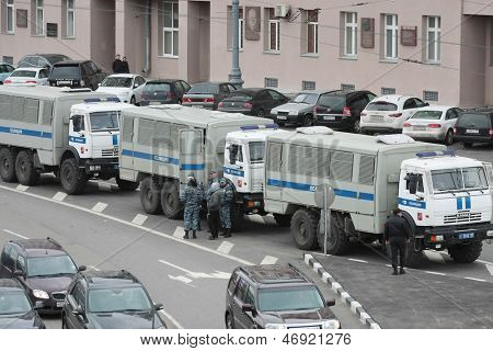 MOSCOW - MAY 6: Police trucks stand in the center of city near the protest manifestation of opposition, Volhonka str. in Moscow, Russia on May, 6, 2013