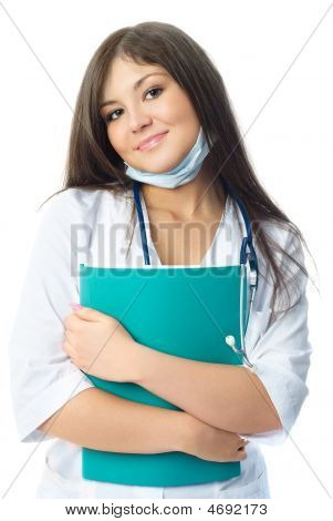 Beautiful Doctor With A Folder