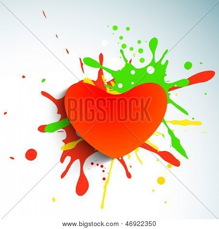 Love background with red paper heart on colorful grungy background.