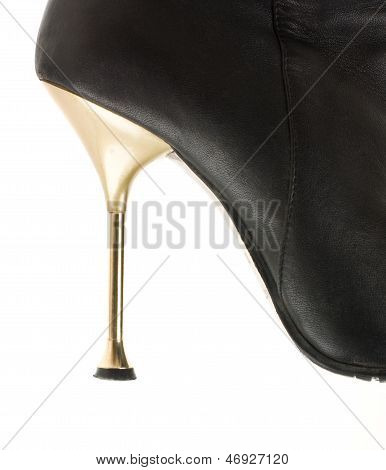 Photo Of Stiletto Of Women's Boots Isolated On White Background