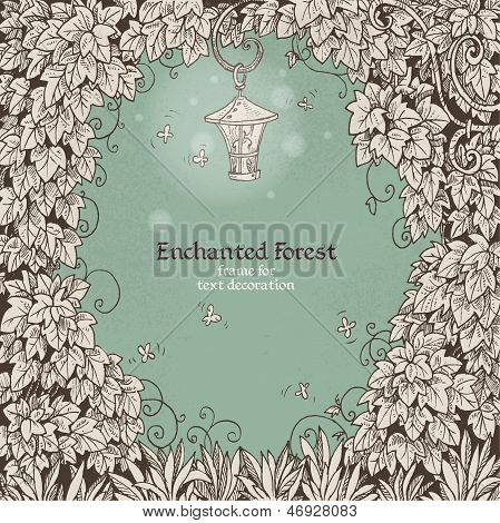 Frame for text decoration Enchanted Forest with a flashlight and ivy