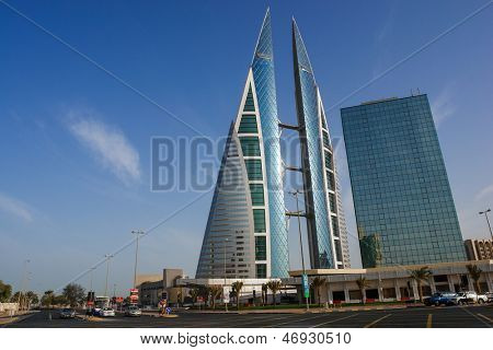 BAHRAIN - FEBRUARY 27: Bahrain World Trade Center - The Bahrain World Trade Center is a 240-meter-high twin tower complex located in Manama, on February 27, 2009 in Bahrain