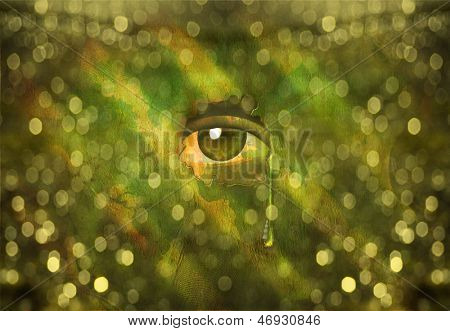 Eye peers through Wall with Tear