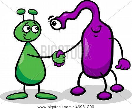 Aliens Or Martians Cartoon Illustration