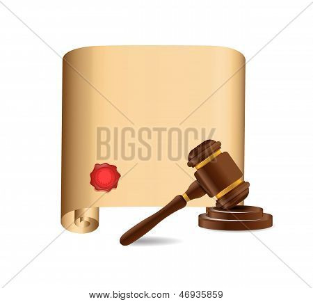 Wooden Gavel Against Old Scroll Illustration