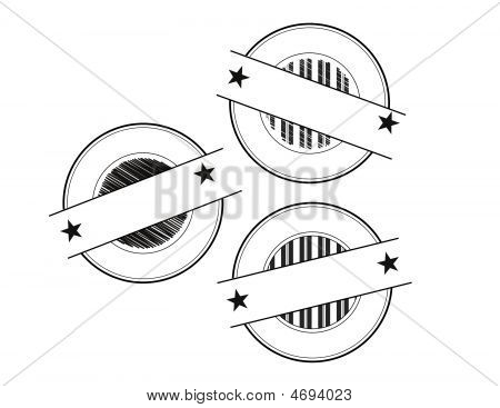 Set Of 3 Blank Circular Seal With Banner