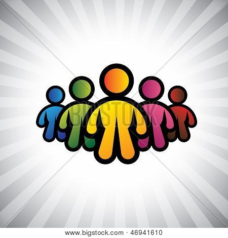 Concept Vector Graphic- Colorful Abstract Team Members & Team Leader(captain)