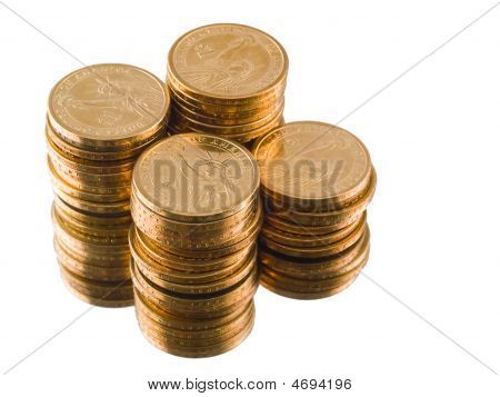 Gold Us Dollar Coins Isolated