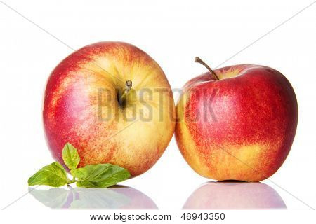 Apples with mint ,isolated on white background