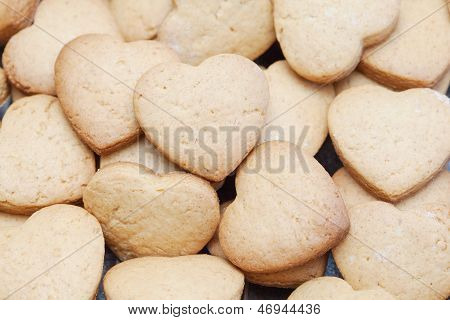Freshly Baked Cookies In Heart Shapes