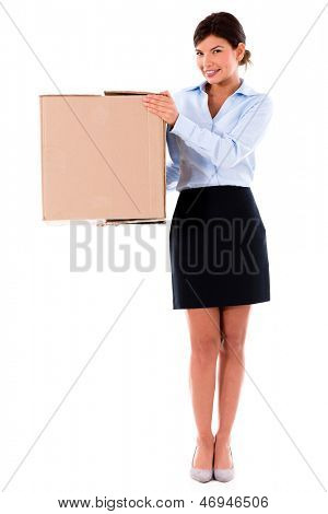 Business woman moving and a carrying cardboard box �¢?? isolated