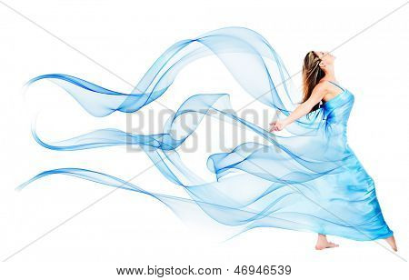 Frau in einem wunderschönen blauen Kleid - isolated over white background
