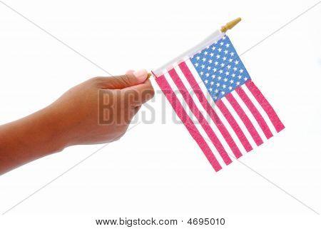 American Flag In Black Hand
