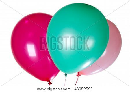 Party Balloons Decoration Colorful Multicolor  Isolated On White Background