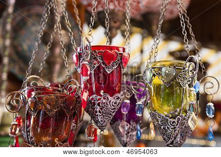 Turkish Candle Holders In A Bazaar