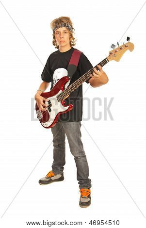 Teen Male With Bass Guitar