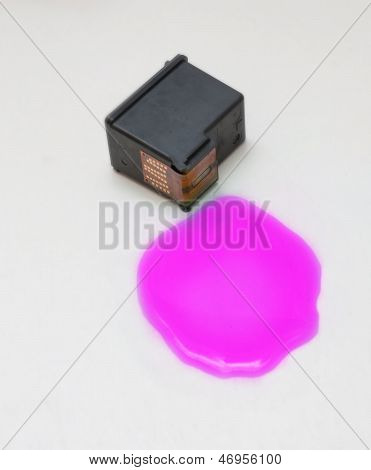Magenta Ink Cartridge On White Background