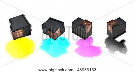 Colour Ink Cartridges On White Background