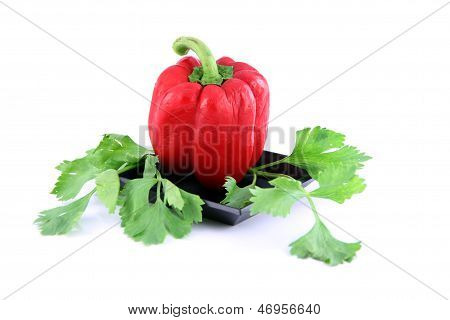 Red Sweet Pepper In The Dish.