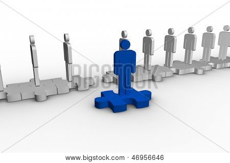 Blue human form over jigsaw piece separated from line of human representations on white background