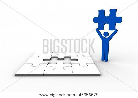 Blue human figure holding jigsaw piece next to unfinished puzzle on white background