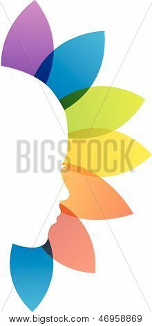 Lady's face with colorful leaves-beauty icon concept
