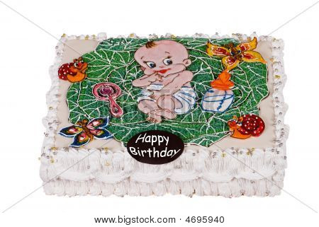 Big Birthday Cake With Child In Cabbage