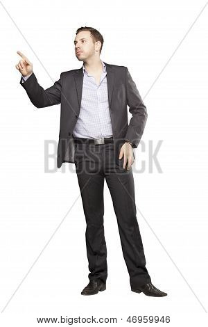 Young Man In Black Suit Gesturing