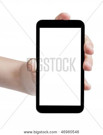Female Teen Hand Holding Generic Touch Device