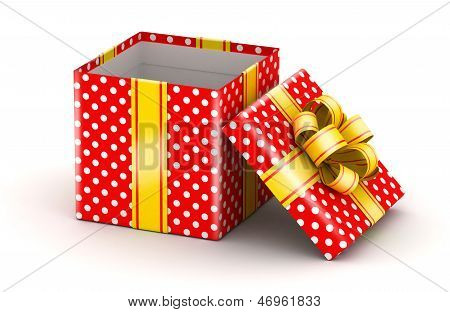 Opened red gift box