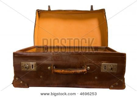 Open Leather Suitcase