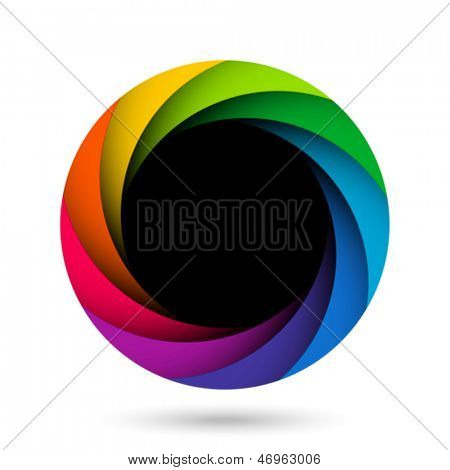 Colorful camera shutter aperture. Vector.
