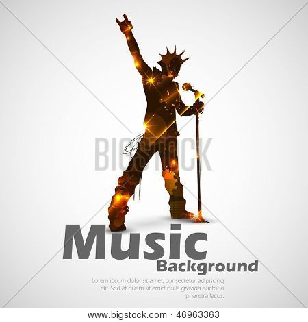 illustration of rock star singing for musical design