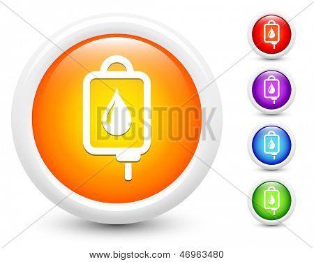 IV infuus pictogrammen op ronde knop verzameling originele illustratie