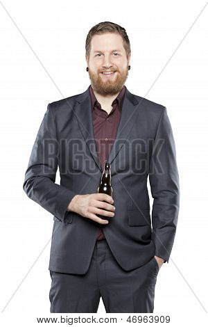 Young Bearded Man Holding Beer