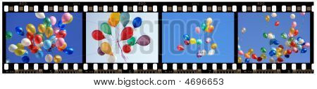 Strip Of 35Mm Film With Color Balloons Shots