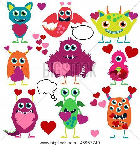 Vector Set of Cute Love Monsters