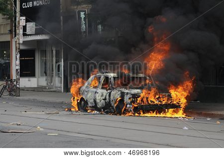 Burning car on queen street.