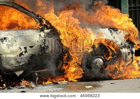 Burning police car.
