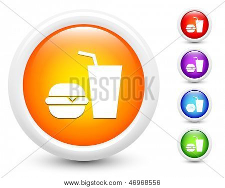 Fast Food Icons on Round Button Collection Original Illustration