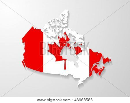 Canada map with shadow effect presentation