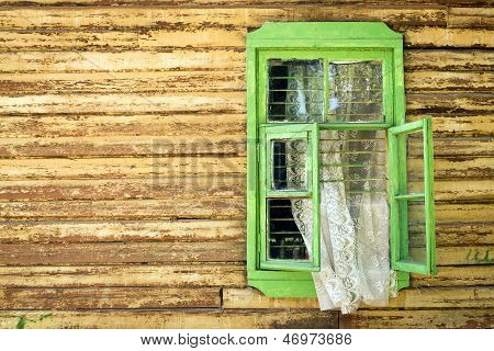 Wooden Vintage Green Window