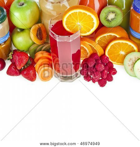 Colorful Bottles juice with fresh berries and fruits isolated on white background
