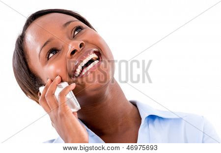 Business woman talking on the phone - isolated over white background
